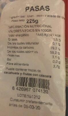 Pasas frutos secos - Informação nutricional - es