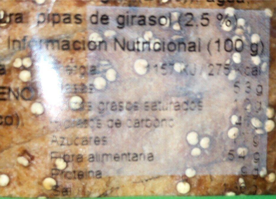 Cuatro granos - Informació nutricional - es