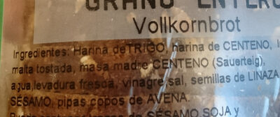 Pan De Grano Entero Ketterer - Ingredients