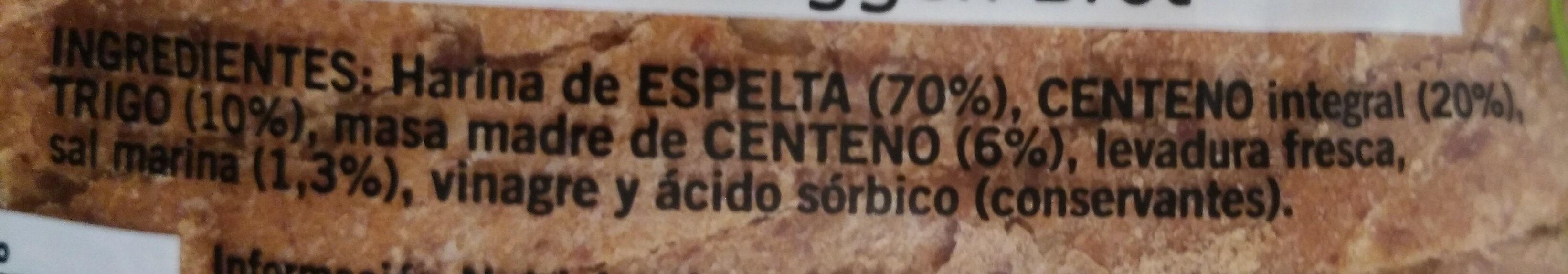 Pan  de espelta - Ingredientes