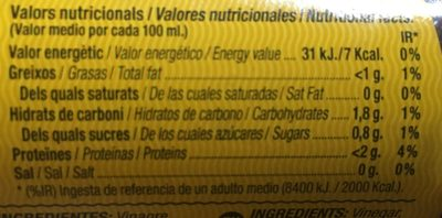 Salsa espinaler - Información nutricional