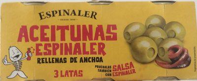 Aceitunas Rellenas De Anchoa Espinaler 3X50GR - Producte