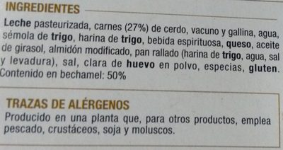 Canelones de Carne con Bechamel - Ingredientes