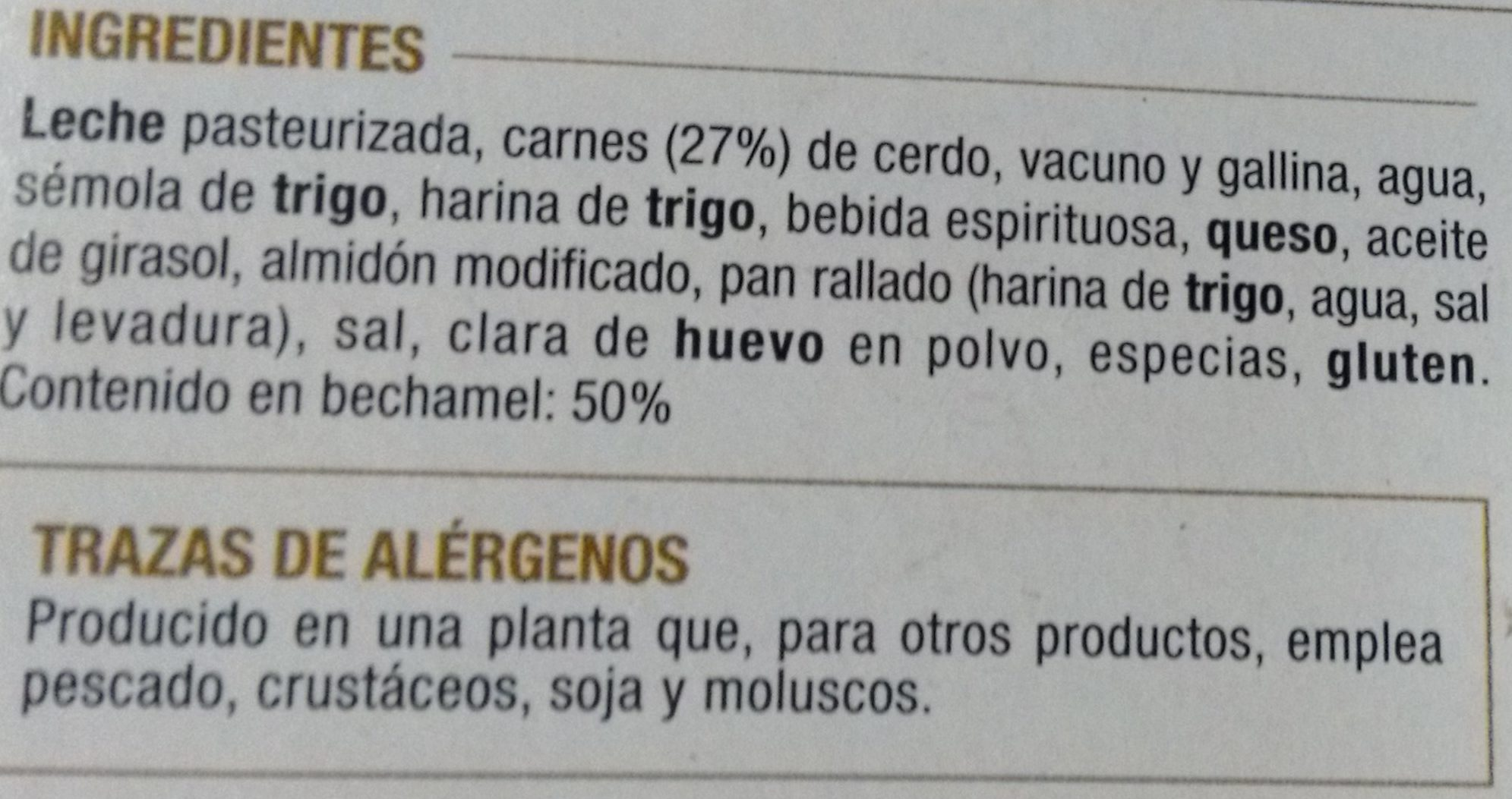 Canelones de Carne con Bechamel - Ingredientes - es
