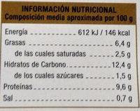 Canelones de Carne con Bechamel - Información nutricional