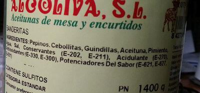 Banderillas - Ingredients - es
