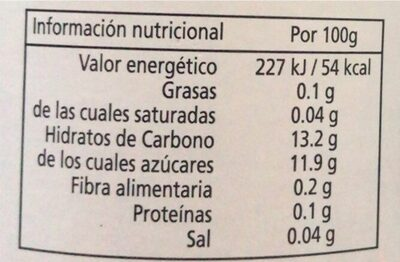 Zumo de manzana - Nutrition facts - fr