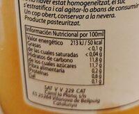 Zumo de mandarina - Información nutricional