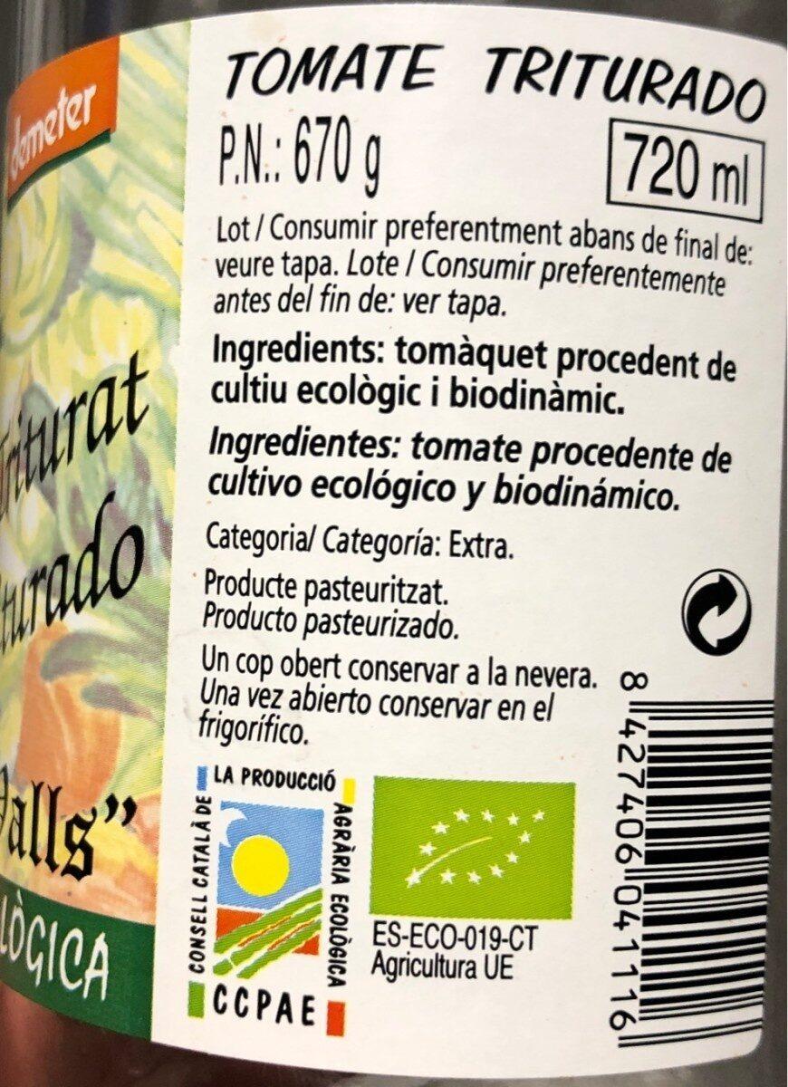 Tomate Triturado 670 G Bio Cal Valls - Producto - fr