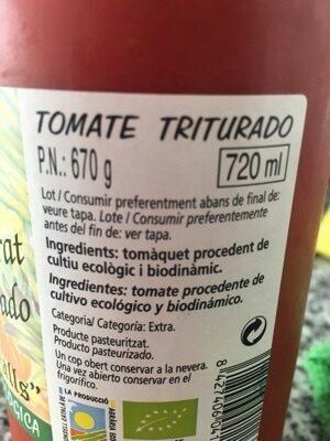 Tomate Triturado 670gr BIO - Ingredientes - es
