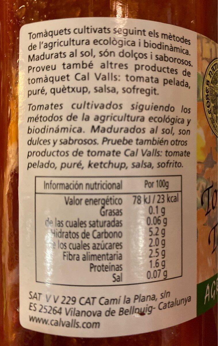 Tomate Triturado 670 G Bio Cal Valls - Información nutricional - fr