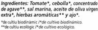 "Salsa de tomate ecológica ""Cal Valls"" - Ingredients - es"