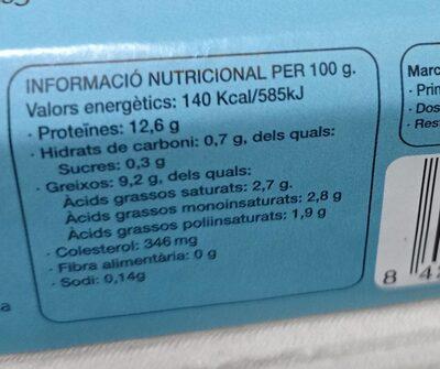 6 ous ecològics - Informació nutricional - es