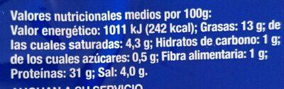 Jamón Serrano Bodega Auchan - Informations nutritionnelles - es