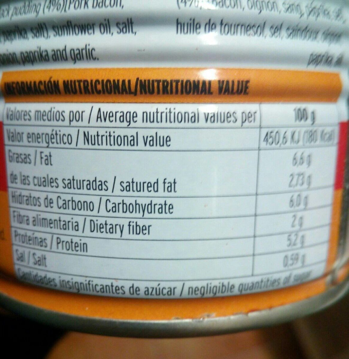 Fabada Asturiana - Nutrition facts - es