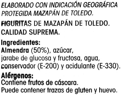 Figuritas de mazapán de Toledo - Ingredientes