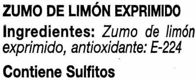 Limón exprimido - Ingrédients - es