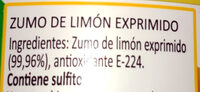 Limón exprimido - Ingredients - es