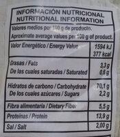 Pico Moreno - Información nutricional - es