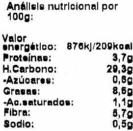 Hamburguesa de cereales provenzal - Informació nutricional