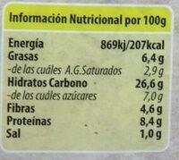 Escalopas vegetales de cereales integrales - Información nutricional