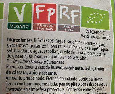 Falafel Tradicional Tofu Bio 250 G Natursoy - Ingredientes