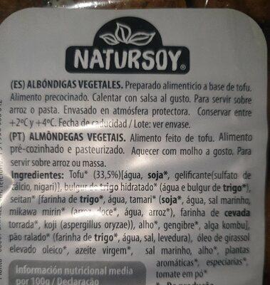 Albóndigas vegetales - Información nutricional - es