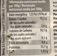 Albóndigas vegetales - Informació nutricional - es
