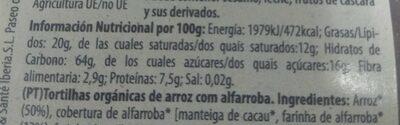 Tortitas de arroz con algarroba - Informations nutritionnelles