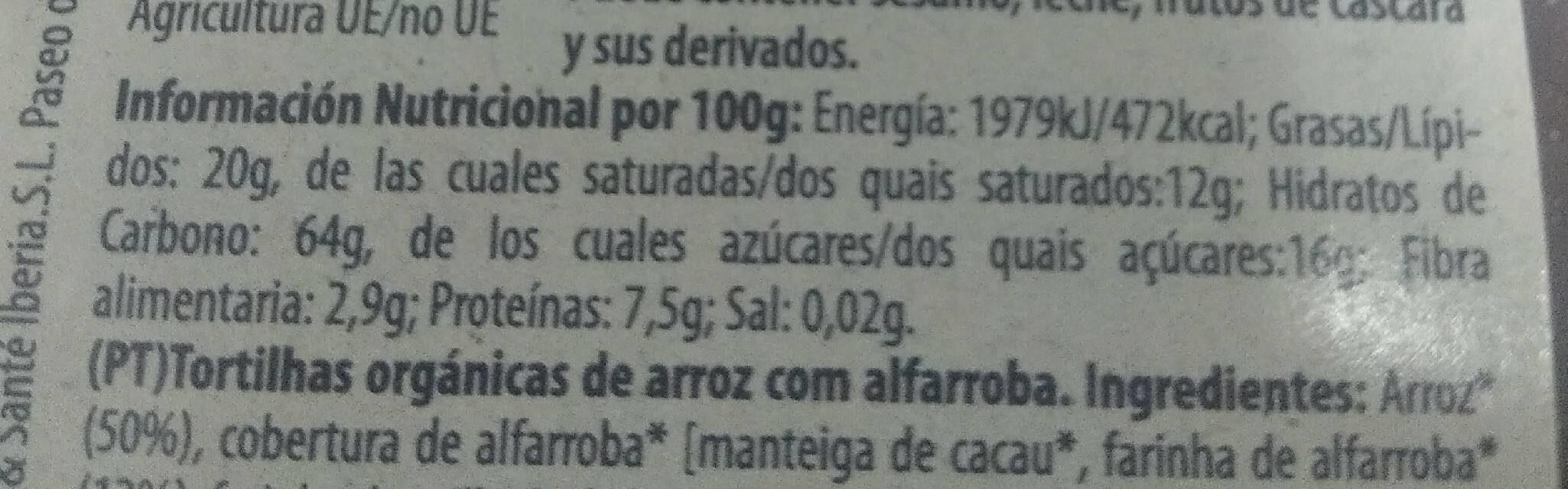 Tortitas de arroz con algarroba - Informations nutritionnelles - es