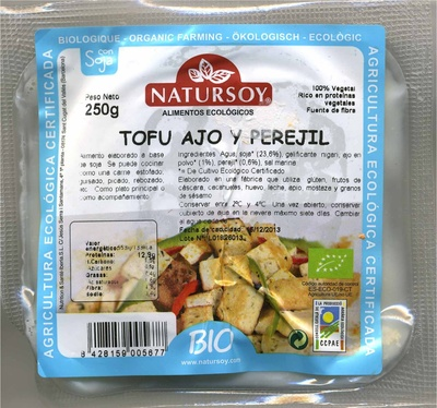 "Tofu ecológico ""Natursoy"" Ajo y perejil - Producte - es"