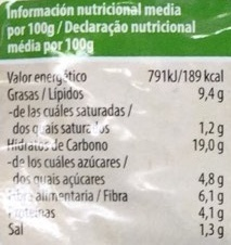 Fibra burger con pasas y espinacas - Nutrition facts