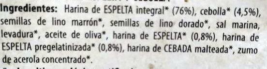 Pan Crujiente Espelta Y Cebolla (vegano) 200G Nat - Ingredients