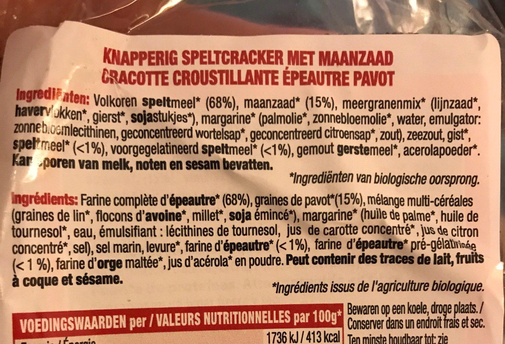 Pan Crujiente Espelta Y S. Amapolas (vegano) 200G - Ingrediënten
