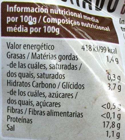 Seitán ahumado - Informació nutricional - es