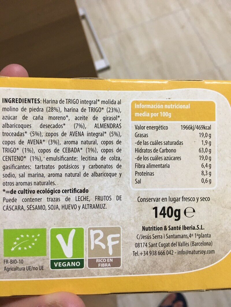 Galletas de cereales con almendras y albaricoques - Informations nutritionnelles - es