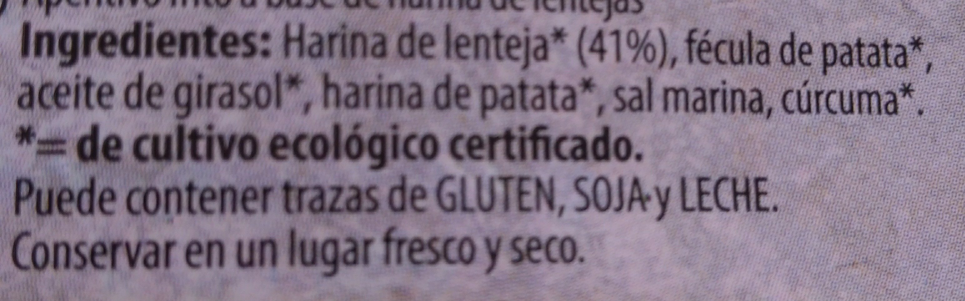 Chips de lentejas - Ingrédients - fr
