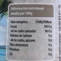 Aceite de coco desodorizado. Natursoy - Nutrition facts