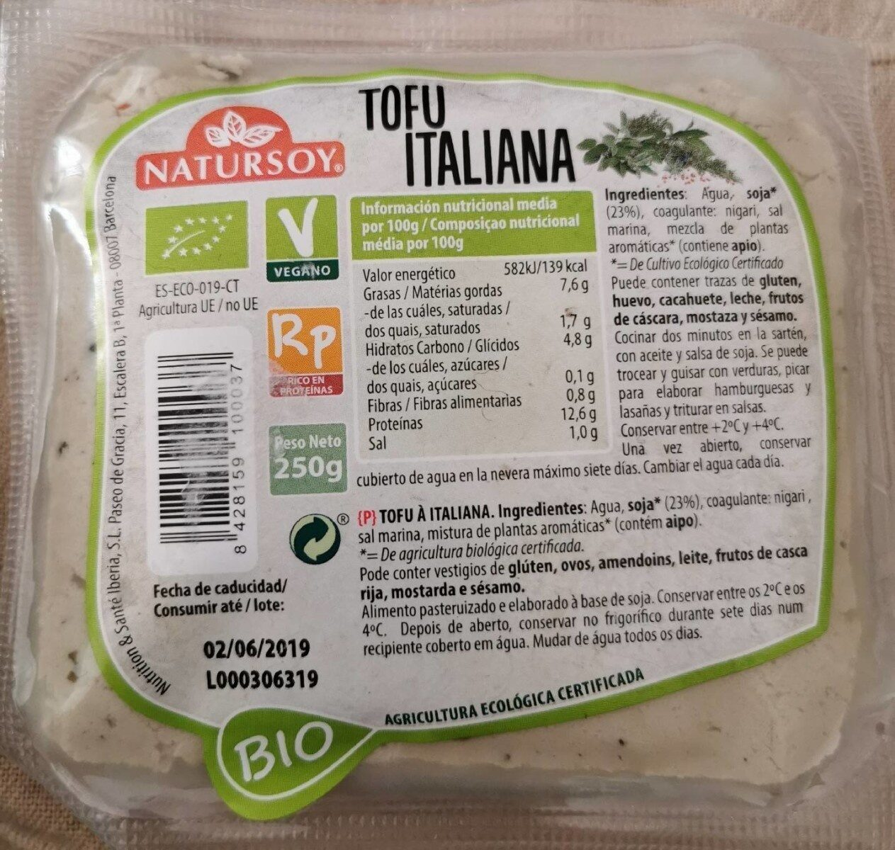Tofu Italiana - Producto