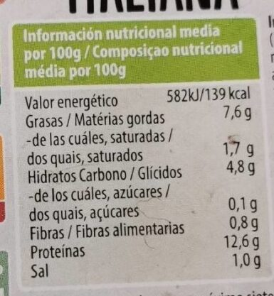 Tofu Italiana - Información nutricional