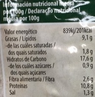 Hamburguesa vegetal de tofu algas - Información nutricional - es