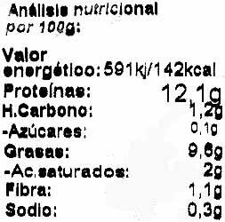 """Tofu ecológico """"Natursoy"""" Griego - Información nutricional - es"""