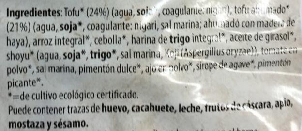 Tofu Burger A la Vasca - Ingredientes - es