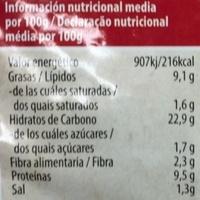 Hamburguesa vegetal de tofu a la vasca - Información nutricional