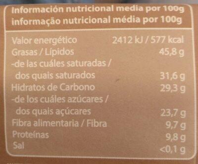 Súper chocolate Thai 60% cacao leche de coco - Voedingswaarden