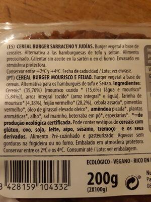 Cereal burger Sarraceno y judias - Ingrediënten