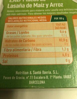 Bio placas de lasaña de maiz y arroz - Información nutricional
