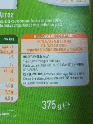 Bio couscous de arroz - Ingredientes