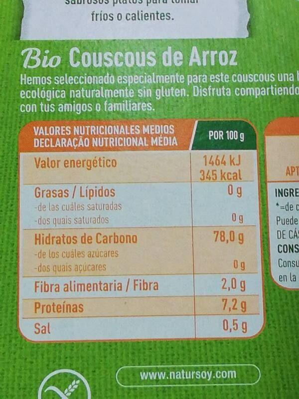 Bio couscous de arroz - Información nutricional