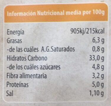 Escalopas vegetales de cereales integrales quinoa y calabaza - Informations nutritionnelles - es